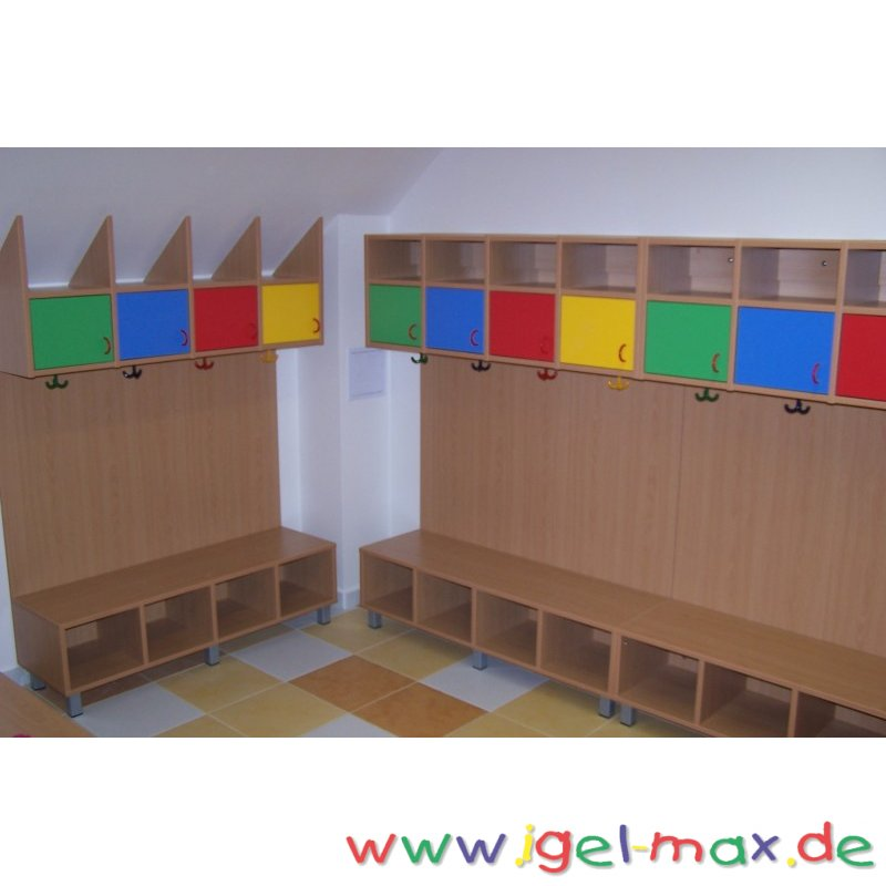 komplette garderobe anlage f r 4 kinder wandmontage. Black Bedroom Furniture Sets. Home Design Ideas
