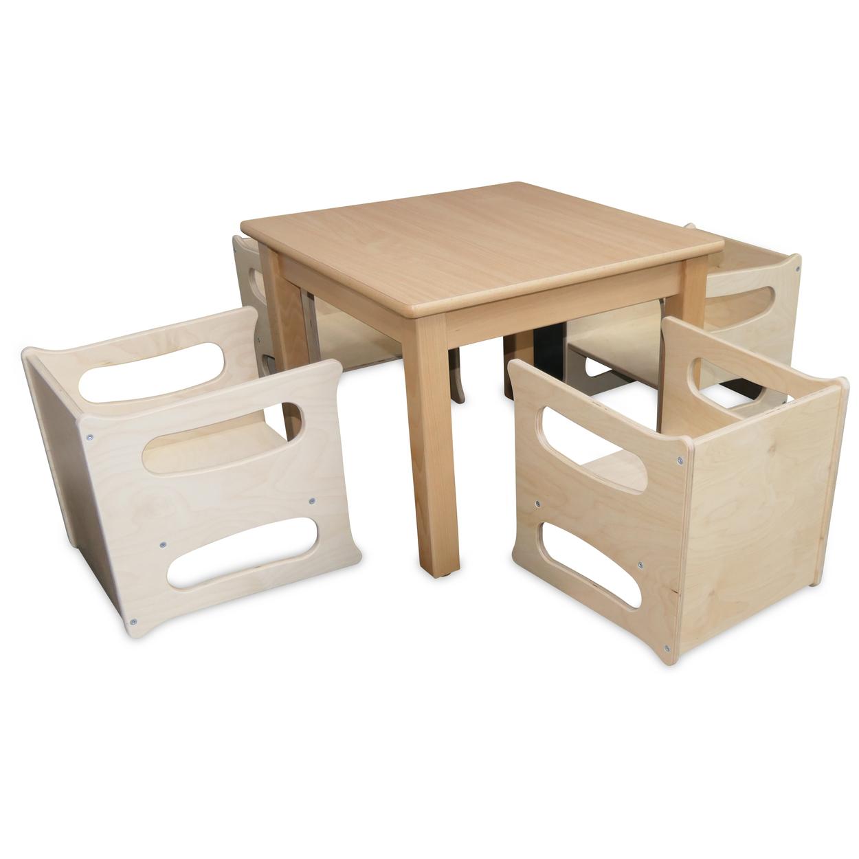 4 x Mehrzweckstuhl-Tisch Birke+ Tisch 60 cm 5 er Set